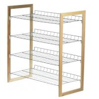 Buy cheap 4 - Tier Wood And Metal Shoe Rack Wooden Shoe Stand Brown / Silver Color from wholesalers
