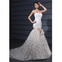 Buy cheap High End Mermaid Sash Romantic Lace Wedding Gowns Strapless Bridal Party Dresses from wholesalers