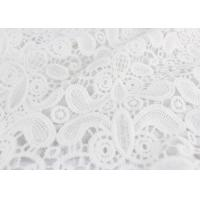 Buy cheap Embroidery White Stretch Lace Fabric , Water Soluble Guipure Lace Fabric For Wedding Dresses from wholesalers