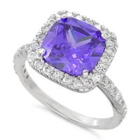 Buy cheap Unique Sterling Silver Rings Square Purple Stone Ring Prong Setting from wholesalers