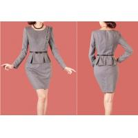 Buy cheap Fashion Ladies Business Suits , Women's Gray Knee Length Peplum Dress from wholesalers