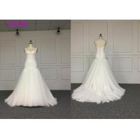 Buy cheap White Elegant Ladies Off Shoulder V Neck Wedding Dress Fully Lined L Size  Length Train Color from wholesalers