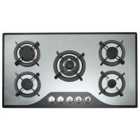Buy cheap NG / LPG 90cm Kitchen Gas Hobs , Gas On Glass 5 Burner Hob For Cooking from wholesalers
