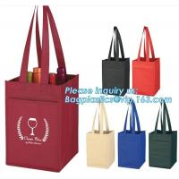 Buy cheap laminated non woven 6 bottle wine tote shopping bag, Custom Promotional wine shopping tote fabric polypropylene laminate from wholesalers