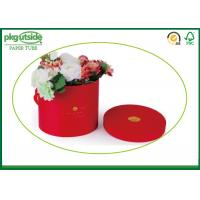China Red Bouquet Flower Boxes Custom Round Tubes For Rose Packaging With Handle on sale