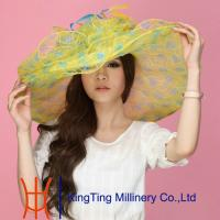 Buy cheap Yellow Wide Brim Fashion Organza Sun Hats Spring For Lady from wholesalers