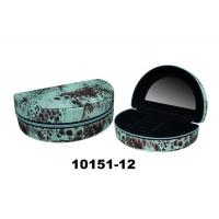 Buy cheap Leather Cardboard Black Earring Box Fashionable Jewelry Box With Mirror & Zipper from wholesalers
