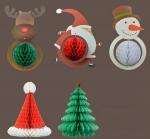 Buy cheap Christmas Decoration Handmade  Snowman  Santa  Christmas Tree Honeycomb Paper Crafts from wholesalers