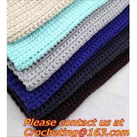 Buy cheap 100% handmade Crochet Blanket colorful stripe knitted baby blanket cover knit throw blanke from wholesalers