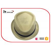 Buy cheap Black Ribbed Band Wide Brimmed Straw Hat For Women , Packable Straw Sun Hat from wholesalers