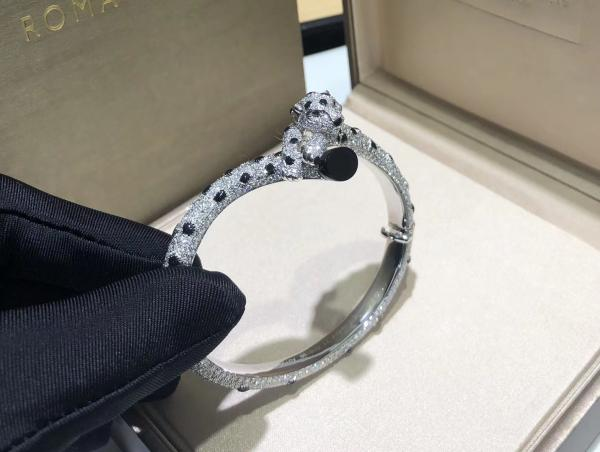 Quality Cartierjewelry 18k white gold Panthere de Cartier bracelet custom made jewelry for sale