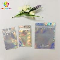 Buy cheap Custom Cosmetic Packaging Bag Plastic Hologram Mylar Zipper With Clear Window from wholesalers