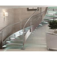 Buy cheap indoor curved glass stairs / stainless steel round stairs railing / glass curved stairs from wholesalers
