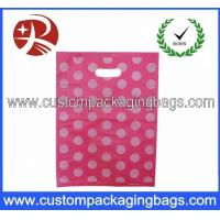 Buy cheap Pink Dot Printed Die Cut Handle Plastic Bags Waterproof For Supermarket from wholesalers