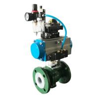 Buy cheap SS Stainless Steel Corrosion Resistant Pneumatic PTFE Lined Ball Valve from wholesalers