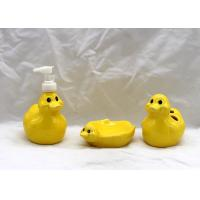 Buy cheap Dolomite Duck Bathroom Set , Ceramic Toothbrush Holder Lotion Dispenser Soap Dish from wholesalers