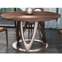 Buy cheap Nordic style Living room Furniture Walnut Wooden Circular Dining table in Special design Legs and Stainless steel plate product