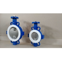 Buy cheap DN100 PTFE Seated Ductile Iron Split Wafer Butterfly Valve from wholesalers