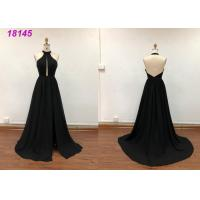 Buy cheap Halter Neckline Long Evening Gowns , Black Lace Evening Gown With Sweep Train from wholesalers