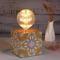 Buy cheap Exclusively design Cube iron Table Lamp bedside lamp with retro sticker with 3 colors from wholesalers