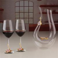 Buy cheap Wholesale U Shape Decanter Enamel Flower Crystal Clear Wine Glass Set for Sale from wholesalers