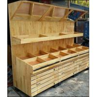 Buy cheap OEM Supermarket Fruits And Vegetables Wooden Display Rack With Mirror from wholesalers