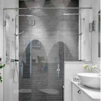 Buy cheap Modern tempered glass white line glass Shower Room compact shower enclosure product