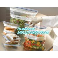 Buy cheap double track custom printing freezer zipper bags, Resealable clear PE double sealed zipper bag wholesales, FDA food pack from wholesalers