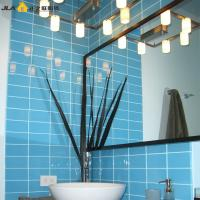 Buy cheap Sky Blue Waterproof Wall Tiles Glossy Bevelled Edge For Kitchen / Coffee Shop product