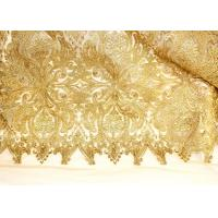 Buy cheap Fashion Floral Pattern Gold Lurex Nylon Lace Fabric for Party / Banquet Dress from wholesalers