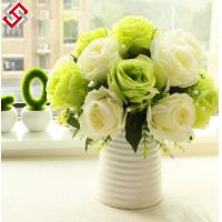 China Artificial Faux Home Decor European Style Short Stem 29cm Silk Rose on sale