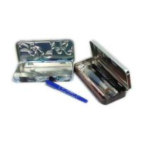 Buy cheap rectangular 3D embossed pen tin box with hinged lid product