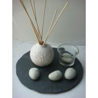 Buy cheap Aromatherapy Ceramic Lily Flame Reed Diffuser With 20cm * 20cm * 0.5cm Slate Base Homechic product