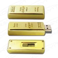 Buy cheap Golden Bar Metal USB Flash Drive, Graceful Bank Gifts Flexible Memory Stick Hard Box Pack product