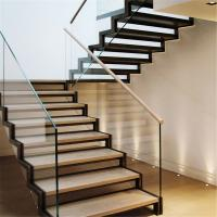 Buy cheap Staircase steel grill design with side mount glass balustrade product