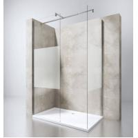 Quality European Portable Acrylic Plastic Base Tray Frameless Walk in Glass Shower Screen with Stainless Steel Support Bar for sale