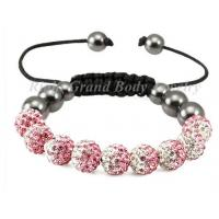 Buy cheap Pink Macrame Crystal Shamblla Bracelet , Customized Size from wholesalers