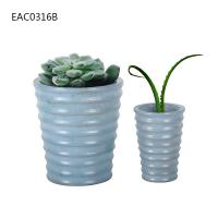 Buy cheap Drainer Screw Thread Blue Concrete Vase Cylinder Decorative Two Size from wholesalers