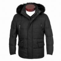 Buy cheap Men's 90% Down Jacket with Real Fox Fur, Made of Woolen Large Twill Fabric, Detachable Hood from wholesalers