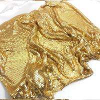 Buy cheap fashion gold metal mesh fabric Metallic cloth Sequin use for apparel table runner curtains shoes bags home decoration from wholesalers