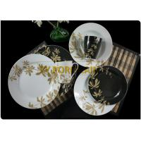 Buy cheap Uk 12 Pcs Round Ceramic Dinnerware Sets With Black Cut Decal from wholesalers