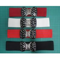 Buy cheap Custom color 5cm elastic webbing cloth belts for women / ladies belt , plating buckle from wholesalers