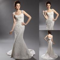 Buy cheap Sheath Lace Cap Sleeve Backless Wedding Dresses Panel Train with Beaded Flower Applique from wholesalers