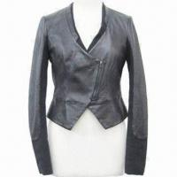 Buy cheap Women's coat/women's PU short style jacket, V-neck, sleeve pieced from wholesalers