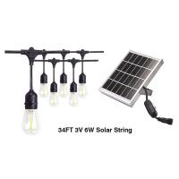 Buy cheap 3v 6w 34ft Outdoor Solar LED String Lights For Garden E27 LED Filament Bulbs For Decoration from wholesalers