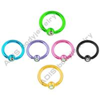 Buy cheap Ear Crystal Anodized Colorful Ball Closure Ring / BCR Body Jewelry Anodized Titanium from wholesalers