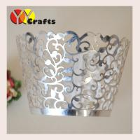 Buy cheap Flower branch laser cut cupcake wrappers metallic silver paper various colors from wholesalers