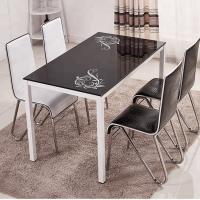 Buy cheap Tempered Glass Top Dining Room Table With Powder Coating Counter legs with different color different chairs from wholesalers