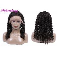 Buy cheap 10 - 30 Inch Deep Wave Front Lace Wigs / Half Hand Tied Wig Spilt Ends from wholesalers