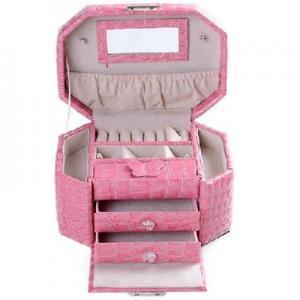 Buy cheap octagonal three-tier jewelry box / jewelry storage box - pink crocodile pattern product